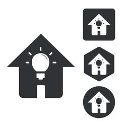House light icon set monochrome vector