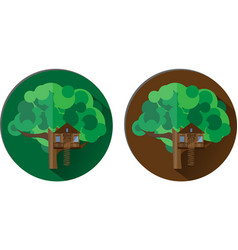 icons with a tree house vector image