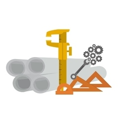 Isolated plans and ruler of construction design vector