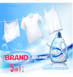 Laundry detergent ad washing white clothes vector