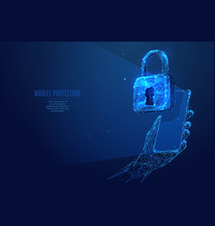 lock and phone in hand low poly vector image