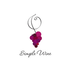 logo wine club red grapes and curl vector image