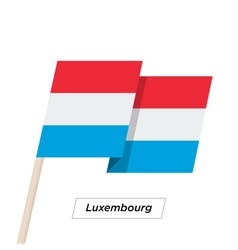 Luxembourg Ribbon Waving Flag Isolated on White vector