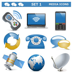 Media icons set 1 vector