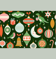 merry christmas and new year card with various vector image