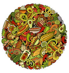 mexican food hand drawn doodles vector image