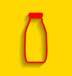 milk bottle sign red icon with soft vector image