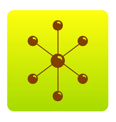 molecule sign brown icon at vector image vector image