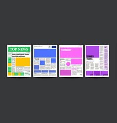 newspaper headlines text articles images vector image