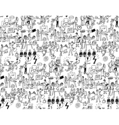 Office life seamless pattern business people black vector