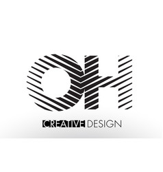 Oh o h lines letter design with creative elegant vector