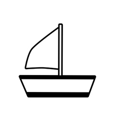 outline sailing ship recreation travel beach vector image vector image