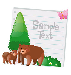 paper design with two bears vector image