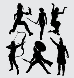 People with weapon silhouette vector