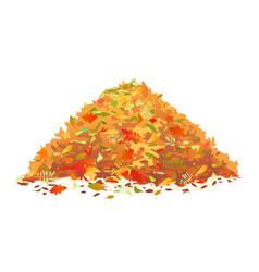Pile fallen leaves vector