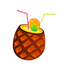 pineapple cocktail with tubes and orange vector image