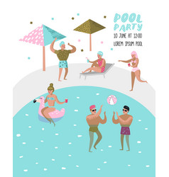Pool party poster banner people swimming vector