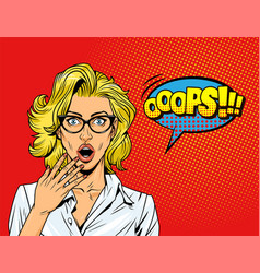 pop art surprised blonde girl vector image
