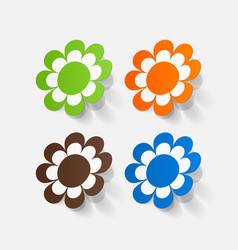 Realistic paper sticker flowers camomile vector