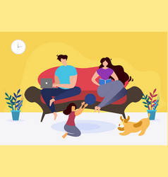 Rest and relax at home thematic family cartoon vector