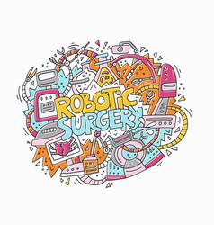 robotic surgery doodle concept vector image