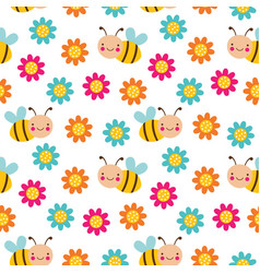 seamless cartoon pattern with bees and vector image
