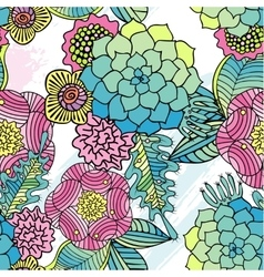 Seamless pattern kaleidoscope flowers succulent vector