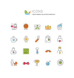Set line icons fathers day vector