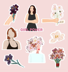 set lovely stickers with spring flowers bouquet vector image
