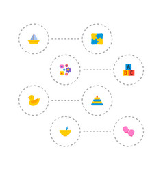 Set of baby icons flat style symbols with flowers vector