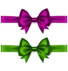 Set of Shiny Purple Green Satin Bows and Ribbons vector