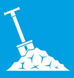 Shovel in coal icon white vector