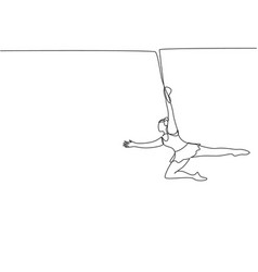 Single one line drawing a female acrobat appears vector