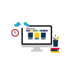 stationery desktop with laptop logo d vector image
