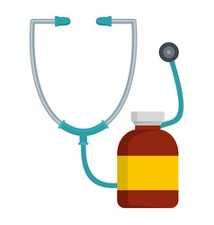 Stethoscope and bottle icon flat style vector