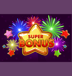 super bonus banner for ui game shooting vector image