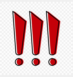 three red exclamation marks in cartoon style vector image