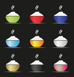 Various color asian food bowl with hot rice fodd vector