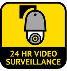 video surveillance cctv label square shape vector image
