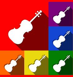 violine sign set of icons vector image