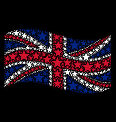 Waving british flag pattern of five pointed star vector
