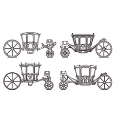 Wedding carriage set outline retro royal chariot vector