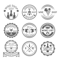 wine shop and wine list monochrome labels vector image