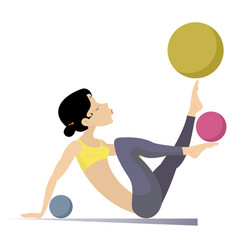 Young woman do exercises with the balls vector
