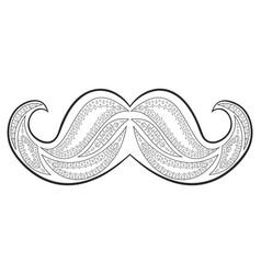 Zen tangle mustache zentangle whisker coloring vector