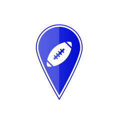blue map pointer with football ball vector image vector image
