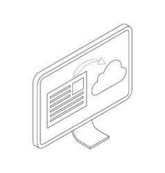 Monitor icon isometric 3d style vector image vector image