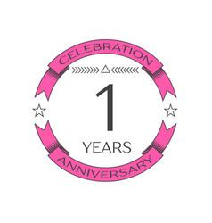 Realistic one years anniversary celebration logo vector
