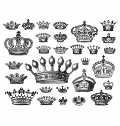 set of antique crown engravings vector image vector image
