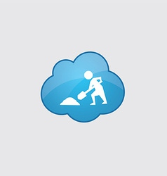 Blue cloud construction works icon vector image